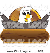 Vector Logo of a Smiling Bald Eagle Character Wooden Logo by Toons4Biz