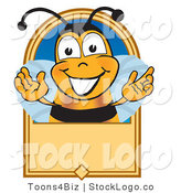 Vector Logo of a Smiling Bee Mascot Cartoon Character on a Blank Tan Label by Toons4Biz