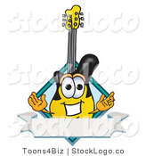 Vector Logo of a Smiling Guitar Mascot Cartoon Character with a Blank Label by Toons4Biz
