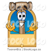 Vector Logo of a Smiling Mallet Mascot Cartoon Character with a Tan Label by Toons4Biz