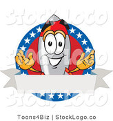 Vector Logo of a Smiling Patriotic Rocket Mascot Cartoon Character with Stars and Blank Label by Toons4Biz