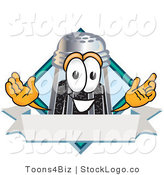 Vector Logo of a Smiling Pepper Shaker Mascot Cartoon Character with a Blank Label by Toons4Biz