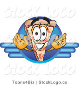Vector Logo of a Smiling Pizza Mascot Cartoon Character on a Blue Business Logo by Toons4Biz