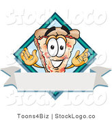 Vector Logo of a Smiling Pizza Mascot Cartoon Character over a Blank White Business Label Banner by Toons4Biz