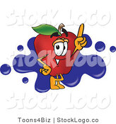 Vector Logo of a Smiling Red Apple Character Mascot Logo with Blue Paint Splatters by Toons4Biz