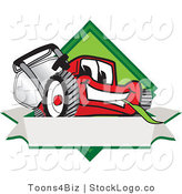 Vector Logo of a Smiling Red Lawn Mower Mascot Cartoon Character on a Blank Label by Toons4Biz