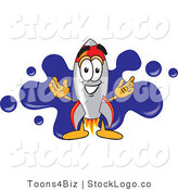 Vector Logo of a Smiling Rocket Mascot Cartoon Character with a Blue Paint Splatter Background by Toons4Biz