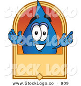 Vector Logo of a Smiling Water Drop Mascot Cartoon Character on a Blank Tan Label, Logo or Sign by Toons4Biz