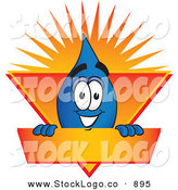 Vector Logo of a Smiling Water Drop Mascot Cartoon Character on an Orange and Yellow Label by Toons4Biz