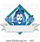 Vector Logo of a Smiling Water Drop Mascot Cartoon Character over a Blank Banner on a Logo by Toons4Biz