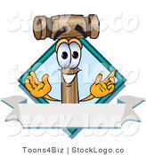 Vector Logo of a Smiling Wood Mallet Mascot Cartoon Character with a Blank Label by Toons4Biz
