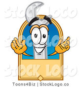 Vector Logo of a Smiling Wrench Mascot Cartoon Character with a Blank Tan Label by Toons4Biz