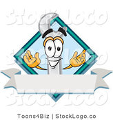 Vector Logo of a Smiling Wrench Mascot Cartoon Character with a Blank White Label by Toons4Biz
