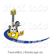 Vector Logo of a Smiling Yellow and Black Guitar Mascot Cartoon Character Logo with a Blue Dash by Toons4Biz