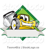 Vector Logo of a Smiling Yellow Lawn Mower Mascot Cartoon Character Facing Front on a Diamond Shaped Logo with a Blank White Banner by Toons4Biz