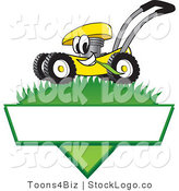 Vector Logo of a Smiling Yellow Lawn Mower Mascot Cartoon Character Mowing Grass over a Blank White Label by Toons4Biz
