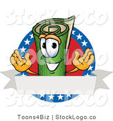 Vector Logo of a Sod Mascot Cartoon Character with Stars and Stripes and a Blank Label by Toons4Biz