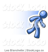 Vector Logo of a Speedy Blue Business Man Running to the Right by Leo Blanchette