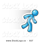 Vector Logo of a Speedy Light Blue Business Man Running to the Right by Leo Blanchette