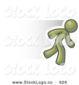 Vector Logo of a Speedy Olive Green Business Man Running to the Right by Leo Blanchette
