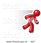 Vector Logo of a Speedy Red Business Man Running to the Right by Leo Blanchette