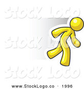 Vector Logo of a Speedy Yellow Business Man Running to the Right by Leo Blanchette