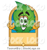 Vector Logo of a Spring Leaf Mascot Cartoon Character with a Blank Tan Label by Toons4Biz
