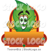 Vector Logo of a Spring Leaf Mascot Cartoon Character with a Red and Orange Autumn Label by Toons4Biz
