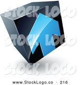 Vector Logo of a Square Pre-Made Logo of a Blue Arrow on a Tilted Black Cube, Above Space for a Business Name and Company Slogan by Beboy