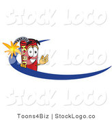 Vector Logo of a Stick of Dynamite Mascot Cartoon Character Logo with a Blue Swish by Toons4Biz