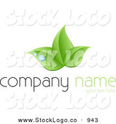 Vector Logo of a Stock Logo of a Trio of Green Leaves and Blue Drops of Dew Above a Space for a Company Name and Information by KJ Pargeter