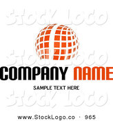 Vector Logo of a Stock Logo of an Orange Globe Made of White Lines and Orange Squares Above a Space for a Company Name and Information on White by KJ Pargeter