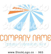 Vector Logo of a Stock Logo of Blue and Orange Lines Resembling an Umbrella, over White Space for a Company Name and Information by KJ Pargeter