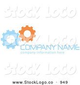 Vector Logo of a Stock Logo of Blue and Orange Working Cogs to the Left of Space for a Company Name and Information on White by KJ Pargeter