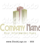 Vector Logo of a Stock Logo of Green and Red Bar Graphs or Skyscrapers Above a Space for a Company Name and Information on White by KJ Pargeter