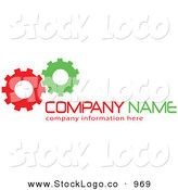 Vector Logo of a Stock Logo of Green and Red Working Gear Cogs to the Left of Space for a Company Name and Information by KJ Pargeter