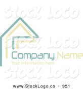 Vector Logo of a Stock Logo of Teal and Beige Lines Resembling a Home or Roof, Above Space for a Company Name and Information on White by KJ Pargeter