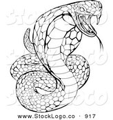Vector Logo of a Striking Venomous Cobra Snake Hissing by AtStockIllustration