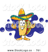 Vector Logo of a Taco Mascot Cartoon Character Standing in Front of a Blue Paint Splatter BehindTaco Mascot Cartoon Character Standing in Front of a Blue Paint Splatter Behind by Toons4Biz