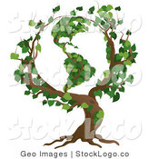 Vector Logo of a Tree with Branches Growing in the Shape of Planet Earth with the America's Featured by AtStockIllustration