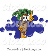 Vector Logo of a Tropical Palm Tree Mascot Cartoon Character Pointing Upwards and Standing in Front of a Blue Paint Splatter on a Travel Business Logo by Toons4Biz