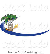 Vector Logo of a Tropical Palm Tree Mascot Cartoon Character Waving and Standing Behind a Blue Dash on an Employee Nametag or Business Logo by Toons4Biz