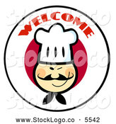 Vector Logo of a Welcome Text over an Asian Chef Face on a Japanese Flag Circle by Hit Toon