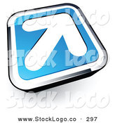Vector Logo of a White Arrow on a Blue and Chrome Rounded Square Button by Beboy
