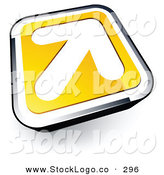 Vector Logo of a White Arrow on a Yellow and Chrome Square Button by Beboy