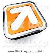Vector Logo of a White Arrow on an Orange and Chrome Tile Button by Beboy
