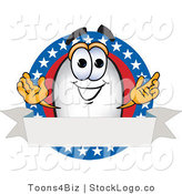 Vector Logo of a White Blimp Mascot Cartoon Character Logo with Stars and Stripes and a Blank Ribbon by Toons4Biz