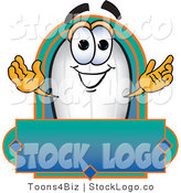 Vector Logo of a White Blimp Mascot Cartoon Character with a Blank Gradient Blue Label by Toons4Biz