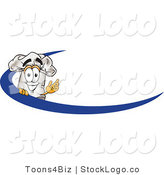 Vector Logo of a White Cook Hat Mascot Cartoon Character on an Employee Name Tag with a Blue Dash by Toons4Biz