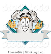 Vector Logo of a White Cook Hat Mascot Cartoon Character over a Blank Banner by Toons4Biz